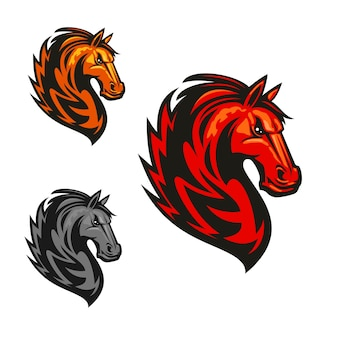 Wütendes und stolzes pferdhengst-logo. rote, gelbe, graue mustangköpfe mit feuerbrennender mähne.