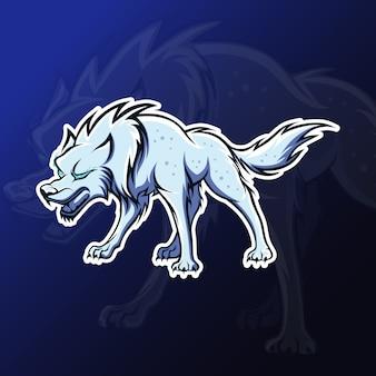 Wütendes wolfsmaskottchen für esport-spiele