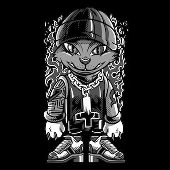 Wunderbare katze schwarzweiss-illustration