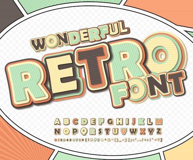 Wunderbare retro-comic-schrift auf comic-seite. lustiges alphabet von buchstaben und zahlen für dekorationscomics-buchseite