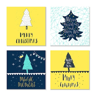 Wunderbare und einzigartige handgeschriebene weihnachtswünsche für feiertagsgrußkarten. abbildung eines baumes mit schnee und beschriftung. tolles gestaltungselement für glückwunschkarten, banner und flyer.