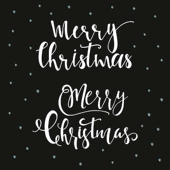 Wunderbare und einzigartige handgeschriebene weihnachtswünsche für feiertagsgrußkarten. handgezeichnete schrift auf schwarzem hintergrund. designelemente des neuen jahres.