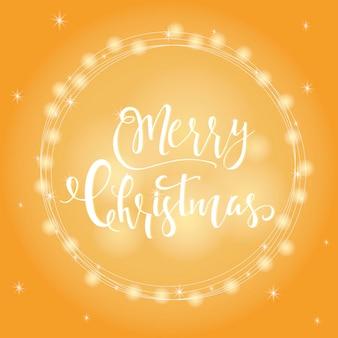 Wunderbarer und einzigartiger festlicher goldener leuchtender hintergrund mit weihnachtswünschen für feiertagsgrußkarten. handgezeichnete schrift mit verschwommenem bokeh. designelemente des neuen jahres.