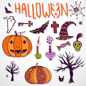Wunderliche halloween-gekritzelskizzen. hand gezeichnete bunte icon set