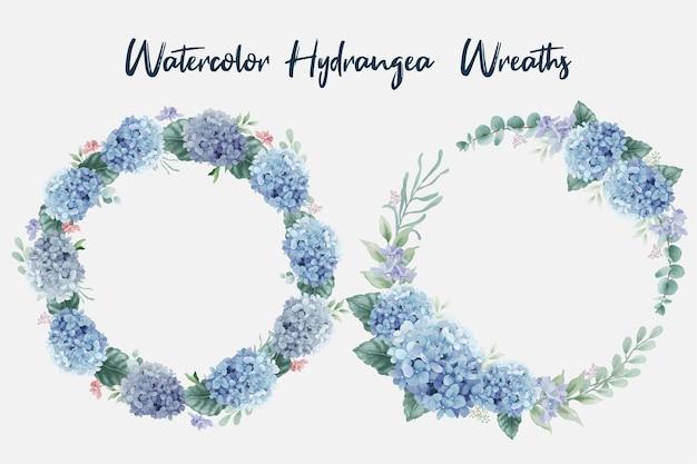 Wunderschöne aquarellblumenkränze mit hortensienblüten und eukalyptuszweigen