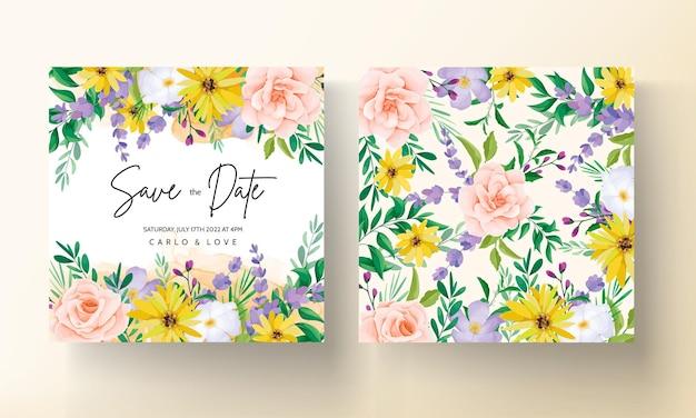 Wunderschöne hochzeitseinladungskarte mit rosen und wildblumen