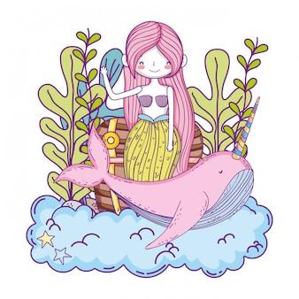 Wunderschöne meerjungfrau mit narvalmärchencharakter