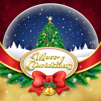 Wunderschöne schneekugel mit weihnachtsbaum und dekorationen