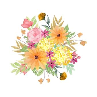 Wunderschöner blumen-aquarell-blumenstrauß