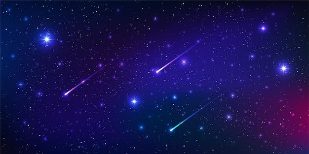 Wunderschöner galaxienhintergrund mit nebelkosmos und kometen, sternenstaub und hell leuchtenden sternen in universal.