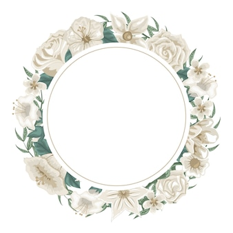 Wunderschöner kranz aus blumen und weißen rosen zur widmung