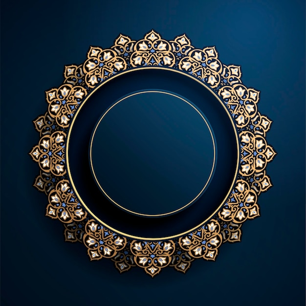 Wunderschöner runder arabeskenrahmen in blau- und bronzefarbe