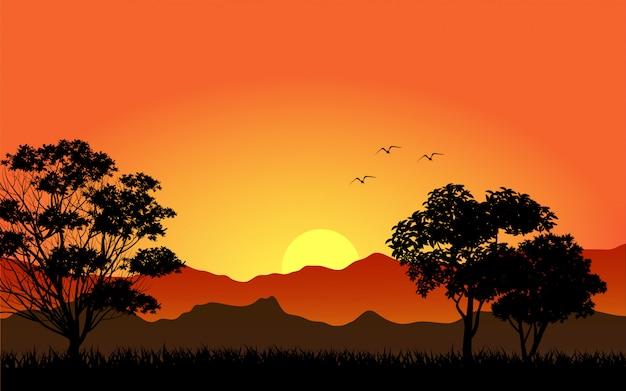 Wunderschöner sonnenuntergang am berg