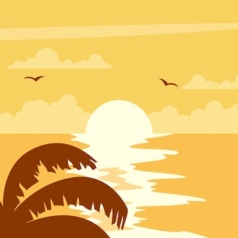 Wunderschöner sonnenuntergang design am strand