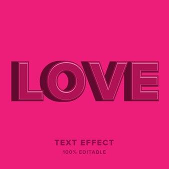 Wunderschönes 3d-textstil-effektdesign der liebe
