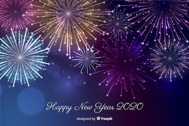 Wunderschönes feuerwerk für ein frohes neues jahr 2020