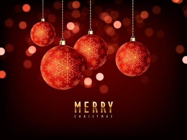 Wunderschönes hintergrunddesign für frohe weihnachten mit kugelnelementen