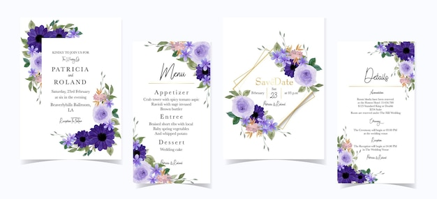 Wunderschönes lila blumenhochzeits-einladungsset