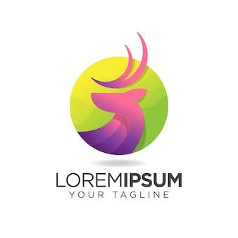 Wunderschönes lila hirsch logo