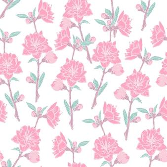 Wunderschönes nahtloses muster mit blühender rosa rose auf weiß