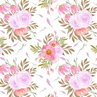 Wunderschönes nahtloses muster mit rosa rosen
