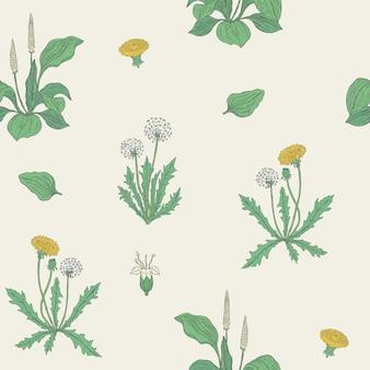 Wunderschönes natürliches nahtloses muster mit blühenden krautigen pflanzen