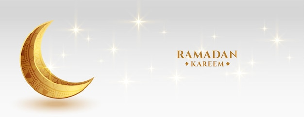 Wunderschönes ramadan kareem festival banner mit goldenem cresent moon