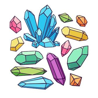 Wunderschönes set aus einer vielzahl von kristallen und edelsteinen. handgezeichnete illustration