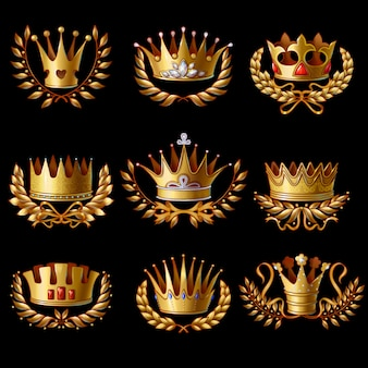 Wunderschönes set mit goldenen königskronen