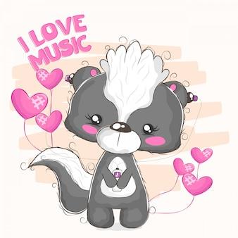 Wunderschönes stinktier, das von ihrem musik-player hört