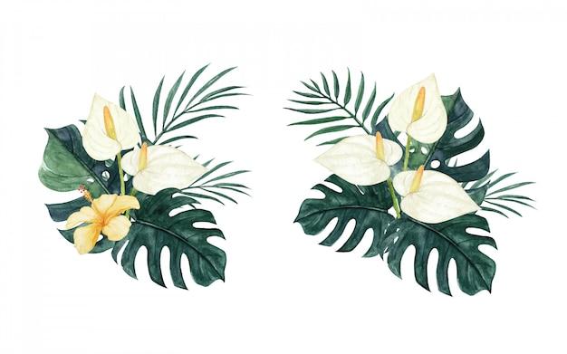 Wunderschönes tropisches blumenarrangement mit aquarell mit callalilie, monstera, palmblättern und hibiskus