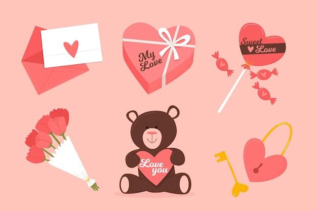 Wunderschönes valentinstag-elementpaket