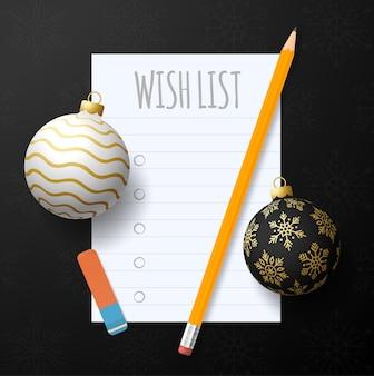 Wunschliste für das neue jahr. liste der ziele für das neue jahr. text der auflösungen 2022 auf dem notizblock. aktionsplan. bleistifte und realistische baumkugeln in gold und schwarz.