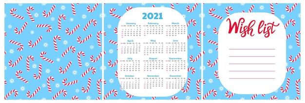 Wunschzettel. wandkalender für 2021. nahtloses muster mit schneeflocke und lutscher. weihnachtshintergrund