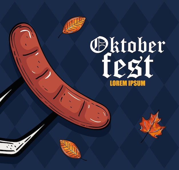 Wurst auf gabel mit blattentwurf, oktoberfest deutschlandfest und feierthema