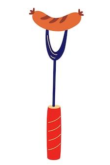 Wurst auf grillgabel. gegrillte wurst. symbol für grill- oder grillwerkzeuge. bratwurst eine plakatvorlage für eine einladung zu einer party. cartoon-vektor-illustration im flachen design