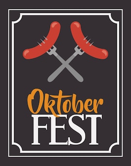 Wurst gabel rahmen essen meu oktoberfest symbol