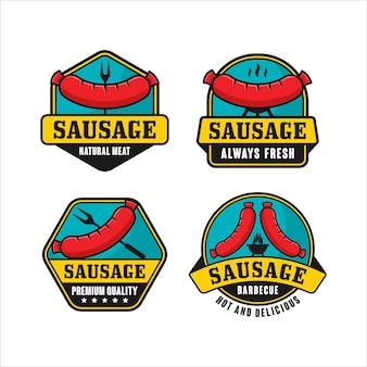 Wurst-logo-kollektion aus natürlichem fleisch
