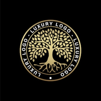 Wurzel oder baum, baum des lebens symbol mit einer kreisform. schöne illustration der isolierten wurzel mit goldfarbe