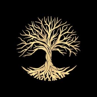 Wurzel oder baum, baum des lebensvektorsymbols mit einer kreisform. schöne illustration der isolierten wurzel mit goldfarbe