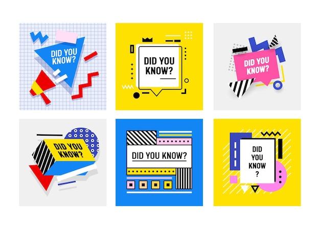 Wussten sie, dass banner, symbole oder abzeichen mit megaphon und sprechblasen für social-media-marketing-tipps, tags, aufkleber für konto, werbeplakate oder etiketten verwendet werden. vektorillustration