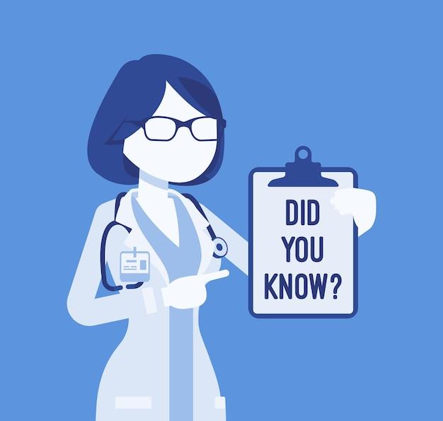 Wussten sie, dass die ärztin ankündigung. professionelle medizinische beratung für frauen, erklärung beliebter fakten im gesundheitswesen