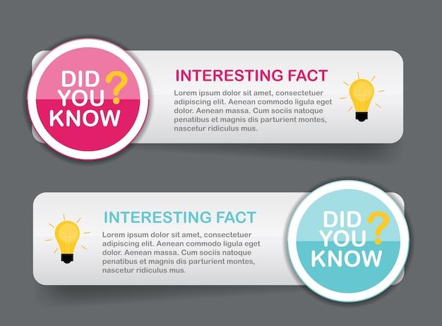 Wussten sie, dass interessante fakten etiketten aufkleber set.