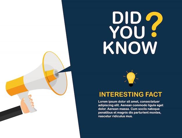 Wussten sie, dass interessante fakten etikettenaufkleber. illustration
