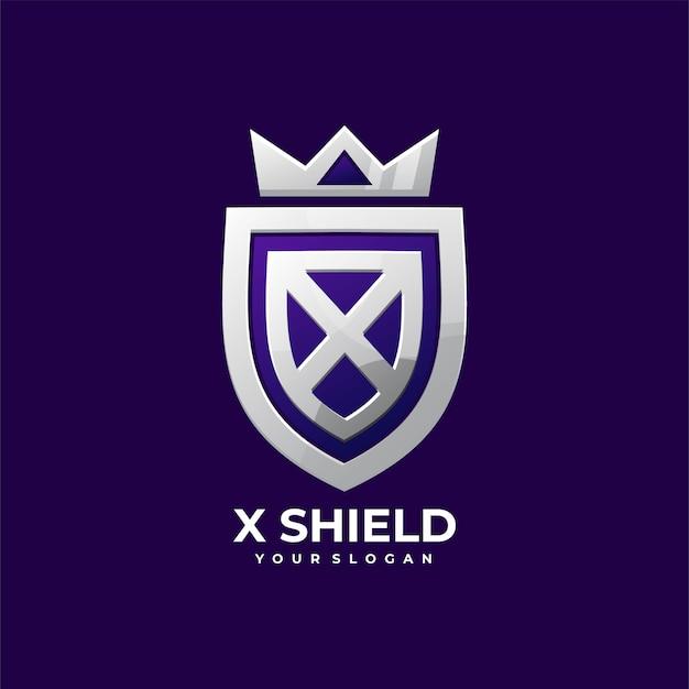 X schild emblem krone elegant