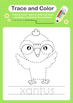 Xantus vogelspur und farbvorschularbeitsblattspur Premium Vektoren