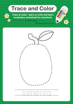 Ximenia spur und farbe vorschule arbeitsblatt für kinder üben schreiben und zeichnen