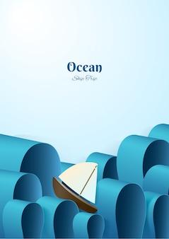 Yacht im papierstil auf hoher see
