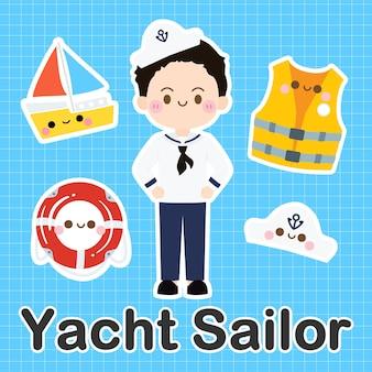 Yacht sailor - set der besetzung niedlichen kawaii zeichentrickfigur