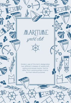Yachtclub quadratischer rahmen skizziert kompositionsplakat mit monochromen maritimen objekten wie fisch, schiff, roten sternen und flaggen